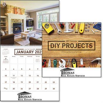 DIY Projects 2021 Wall Calendar - Spiral - Personalization Available
