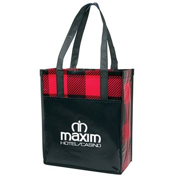 Buffalo Plaid Laminated Grocery Tote - Personalization Available