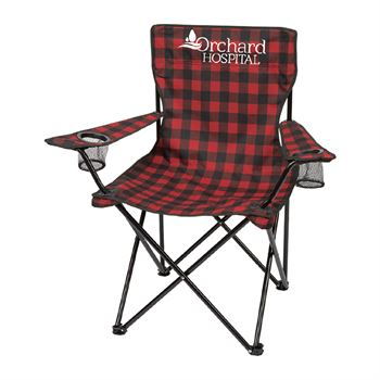 Buffalo Plaid Folding Chair With Carrying Bag - Personalization Available