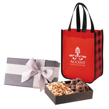 Executive Gift Set With Shiny Non-Woven Northwoods Tote Bag and Chocolate-Covered Pretzels - Personalization Available