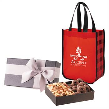 Executive Gift Set With Shiny Non-Woven Northwoods Tote Bag and Gourmet Snack Mix - Personalization Avaialble