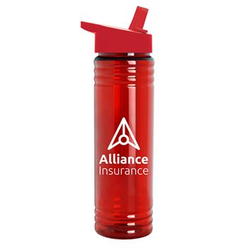 Slim Fit Water Bottle With Flip Straw Lid 24 oz. - Personalization Available