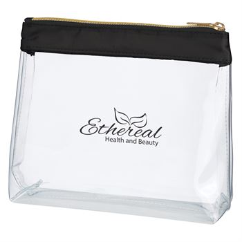 Sadie Satin Clear Cosmetic Bag - Personalization Available