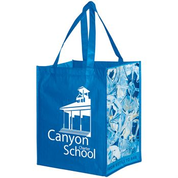 RPET Laminated Grocery Bag With Stock Design Gussets - Personalization Available