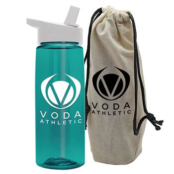 Tritan Flair Bottle With Flip Straw Lid In Cotton Tote 26-Oz. - Personalization Available