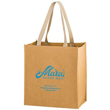Tsunami Washable Kraft Paper Grocery Tote Bag With Web Handle - Personalization Available