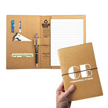 Storm Washable Kraft Paper Padfolio With Strap Closure - Personalization Available