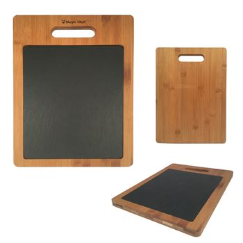 Bamboo Cutting Board With Slate Insert - Personalization Available