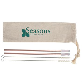 2 Pack Stainless Straw Kit With Cotton Pouch