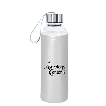 Aqua Pure Glass Bottle With Metallic 18-Oz. - Personalization Available