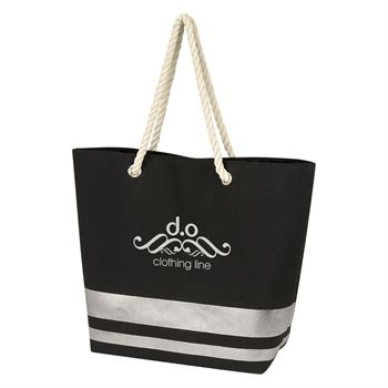Metallic Accent Rope Tote Bag - Personalization Available