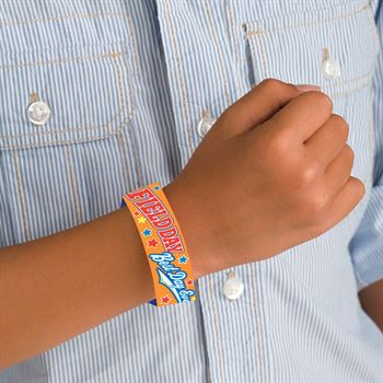 Field Day: Best Day Ever 2-Sided Orange Paper Bracelets