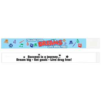 Follow Your Dreams: Live Drug Free 2-Sided Paper Bracelets - Pack of 100