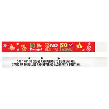 No Drugs, No Bullies, No Excuses 2-Sided Paper Bracelet - Pack of 100