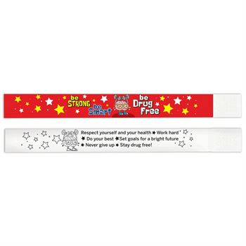 Be Smart Be Strong Be Drug Free 2-Sided Paper Bracelets - Pack of 100