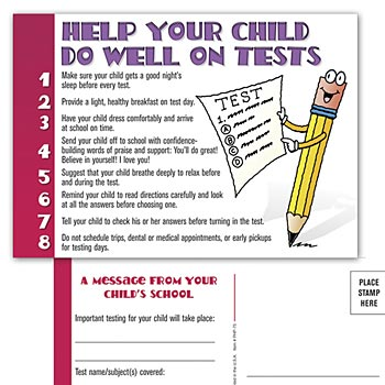 Help Your Child Do Well On Tests Test-Taking Postcard For Parents (English Version)