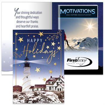 Happy Holidays Lighthouse Greeting Card With 2021 Motivations Planner - Personalization Available