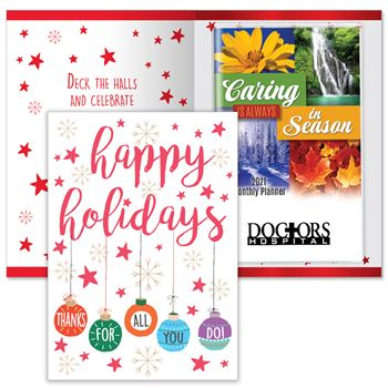 Happy Holidays Thanks For All You Do Greeting Card With 2021 Caring Is Always In Season Planner - Personalization Available