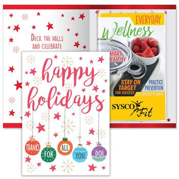 Happy Holidays Thanks For All You Do Greeting Card With 2021 Everyday Wellness Planner - Personalization Available