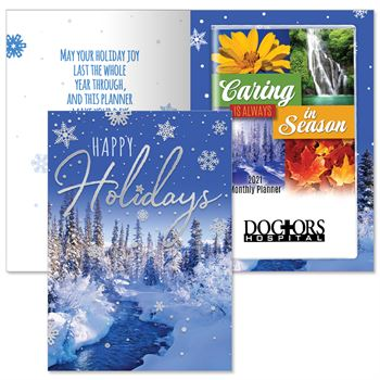 Happy Holidays Snowflakes Greeting Card With 2021 Caring Is Always In Season Planner - Personalization Available