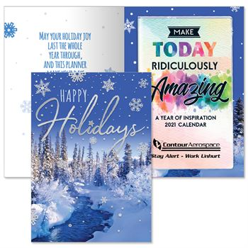 Happy Holidays Snowflakes Greeting Card With 2021 Make Today Ridiculously Amazing Planner - Personalization Available