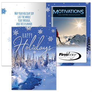 Happy Holidays Snowflakes Greeting Card With 2021 Motivations Planner - Personalization Available