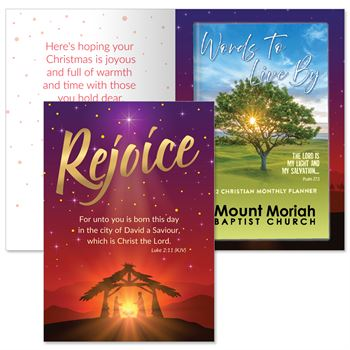 Rejoice Greeting Card and 2022 Words To Live By Calming Tree Sunset Planner Gift Set - Personalization Available
