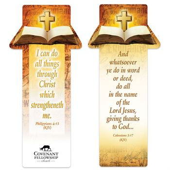 Philippians 4:13 and Colossians 3:17 Deluxe Die-Cut Bookmark - Personalization Available