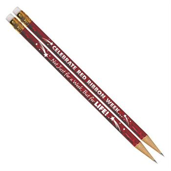 Celebrate Red Ribbon Week Sparkle Foil Pencils - Pack of 100