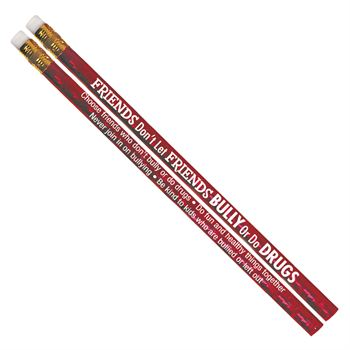 Friends Don't Let Friends Bully Or Do Drugs Red Sparkle Foil Pencils - Pack of 100