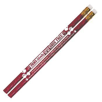 Paws-itively Proud To Be Drug Free Red Sparkle Foil Pencils