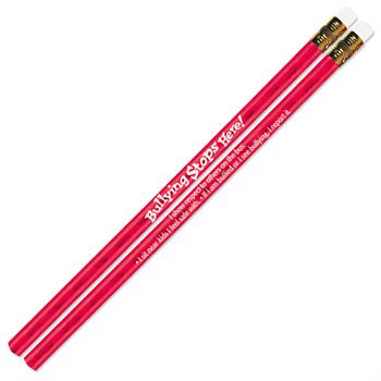 Bullying Stops Here! Red Sparkle Foil Pencil