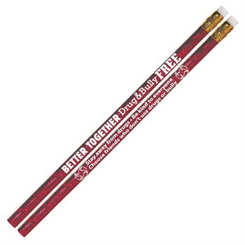 Better Together: Drug & Bully Free Red Ribbon Week Red Sparkle Foil Pencil - Pack of 100