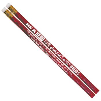 Be A Hero: Stand Up To Bullies & Say No To Drugs Red Ribbon Week Red Sparkle Foil Pencil - Pack of 100