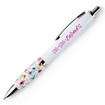 Live, Love, Believe Floral Grip Awareness Pen