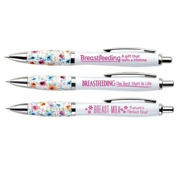 Breastfeeding Awareness Floral Grip Pens Assortment Pack