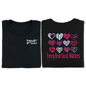 Every Heartbeat Matters (Hearts) 2-Sided Short Sleeve T-Shirt - Personalized