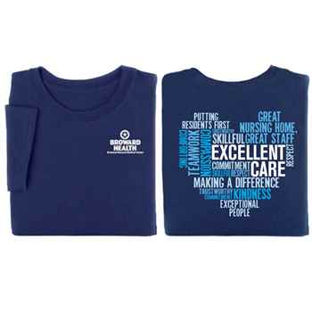 Excellent Care Heart Word Cloud 2-Sided Short Sleeve T-Shirt - Personalized