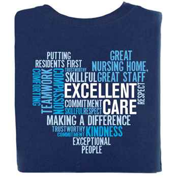 Excellent Care Heart Word Cloud 2-Sided Short Sleeve T-Shirt
