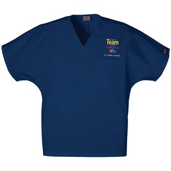 It Takes A Team To Provide Excellent Care Cherokee® Embroidered Unisex V-Neck 1-Pocket Scrub Top - Personalization Available