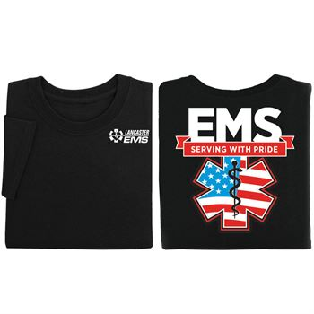 EMS: Serving With Pride Black Short-Sleeve 2-Sided T-Shirt - Personalized