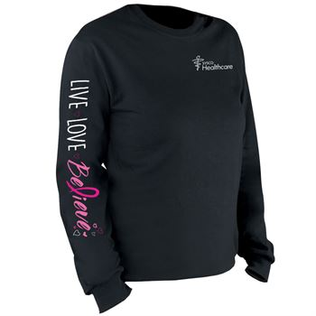 Live, Love, Believe Long Sleeve 2-Location Awareness T-Shirt - Personalization Available