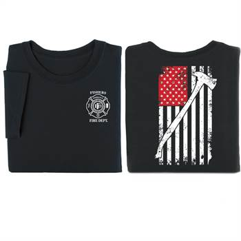 Flag With Firefighter's Ax 2-Sided T-Shirt - Personalized
