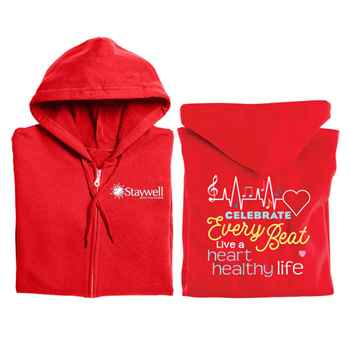 Celebrate Every Beat: Live A Heart Healthy Life Awareness Gildan® Full-Zip Hooded Sweatshirt - Personalized