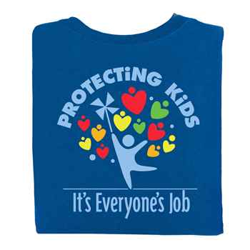 Protecting Kids: It's Everyone's Job Royal Blue 2-Sided T-Shirt - Personalization Available