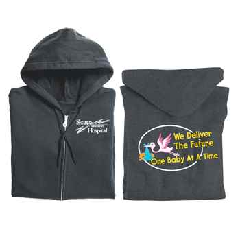 We Deliver The Future One Baby At A Time Gildan® 2-Sided Full-Zip Hooded Sweatshirt - Personalization Available