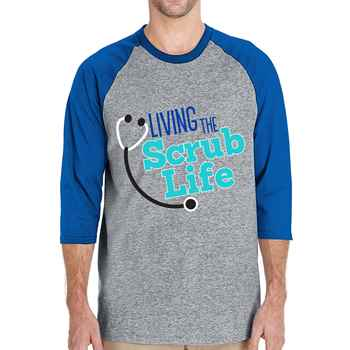 Living The Scrub Life Gildan® Heavy Cotton 3/4 Raglan Sleeve Baseball Jersey - Personalization Available