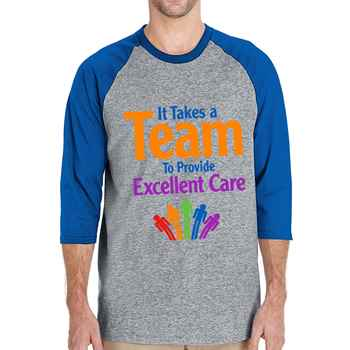 It Takes A Team To Provide Excellent Care Gildan® Heavy Cotton 3/4 Raglan Sleeve Baseball Jersey