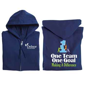One Team, One Goal: Making A Difference Gildan® Team Building Full-Zip Hooded Sweatshirt - Personalization Available