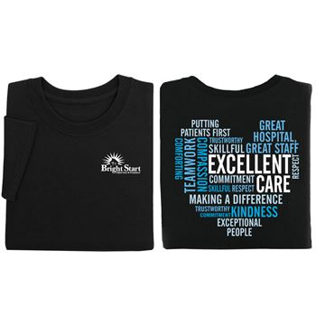 Excellent Care Heart Word Cloud Two-Sided Short Sleeve T-Shirt